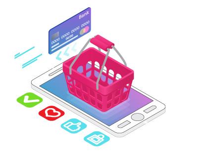 einkaufskorb ecommerce smartphone