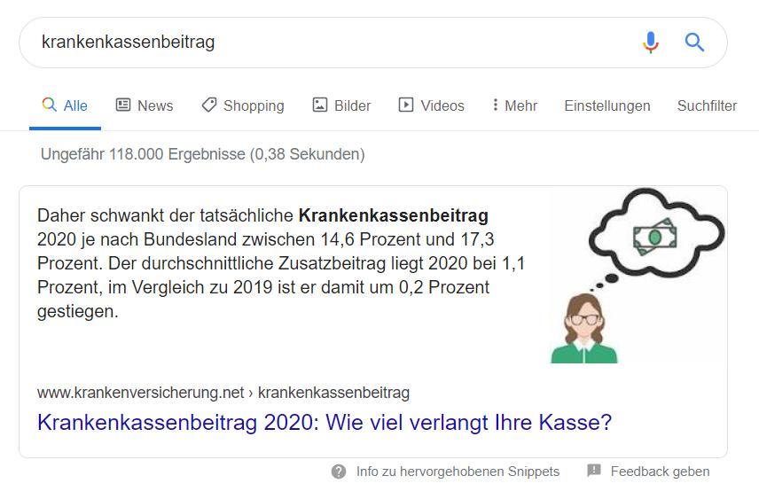 Ein Featured Snippet für SEO in der Google-Suche