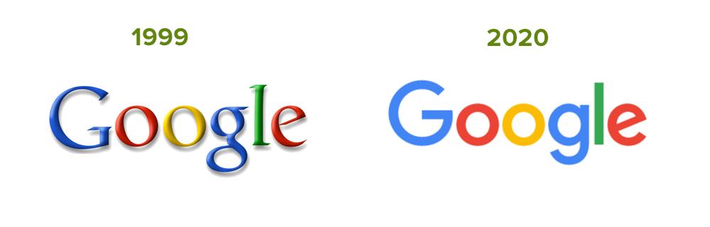 Altes und aktuelles Google Logo im Vergleich