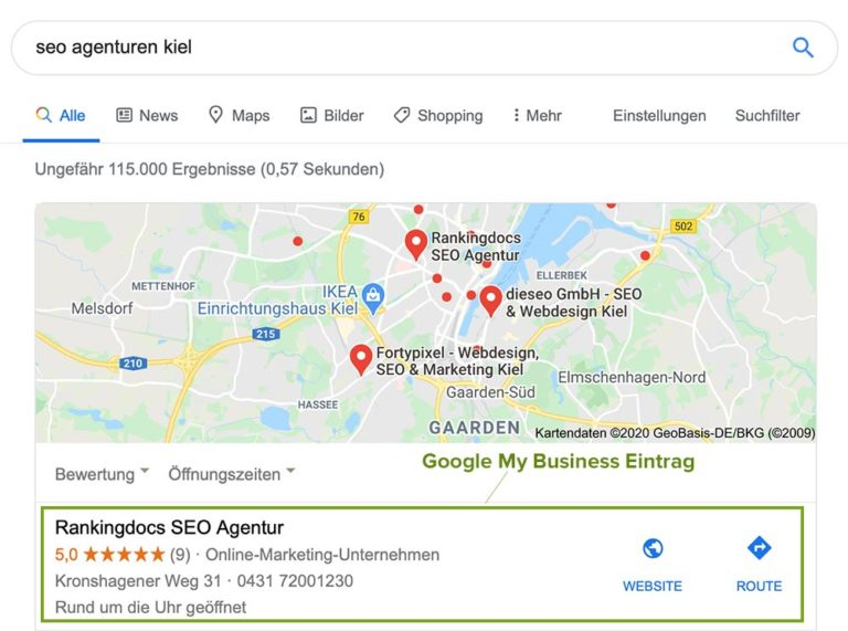 SERP für die lokale Suchanfrage SEO Agenturen Kiel