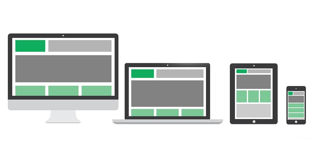 Verschiedene Geräte mit unterschiedlicher Bildschirmauflösung und eine jeweils responsive Darstellung der Website