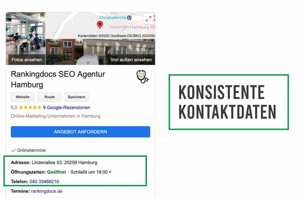 google my business kontaktdaten