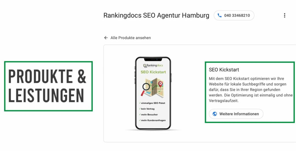 google my business produkte