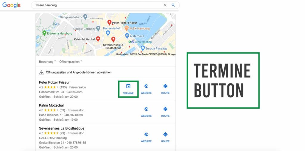 google my business termine button